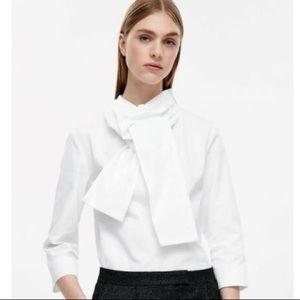 COS | White High-Necked Cotton Blouse